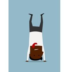 Cartoon businessman doing yoga handstand pose vector