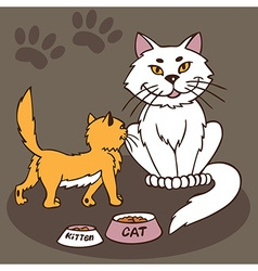 cat and kitten with bowl of food vector image vector image