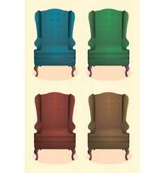 chair realistic icon set four identical chairs vector image vector image