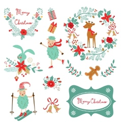 Christmas and new year graphic elements vector image vector image