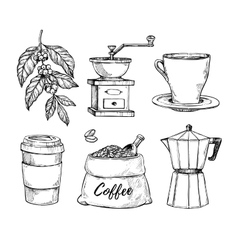 Coffee vintage hand drawn sketch set vector image vector image