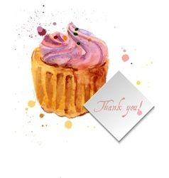 Cupcake with colorful shavings and cream vector