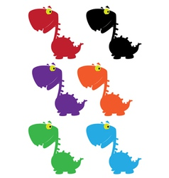 dino cartoon cute color vector image