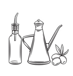 dispenser with olives vector image
