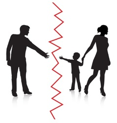 Divorce and separation of father and baby vector