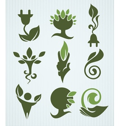 ecology and green energy collection vector image vector image
