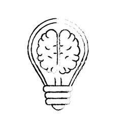 Figure creative bulb with brain inside over white vector