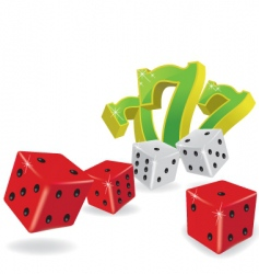 five dice and lucky sevens vector image vector image