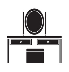 Flat black dresser icon vector