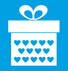 gift box with ribbon bow icon white vector image vector image