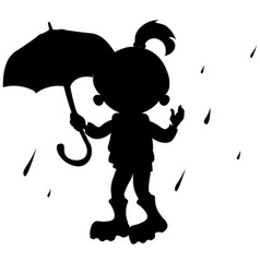 Girl with umbrella silhouette vector