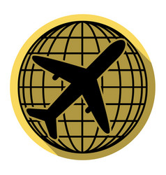 globe and plane travel sign flat black vector image