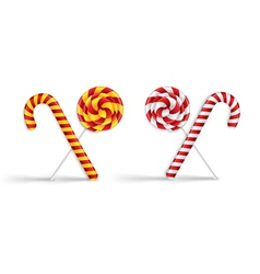 Lollipops and candy canes vector image