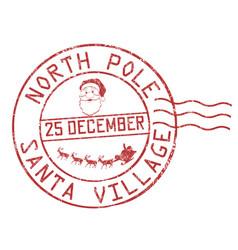 north pole santa village grunge rubber stamp vector image