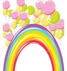 rainbow and balloons vector image
