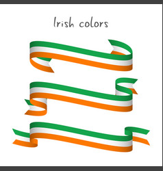 Set of three ribbons with the irish tricolor vector