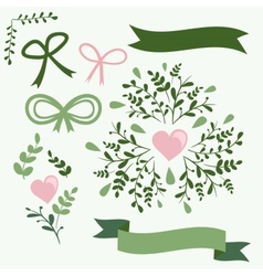 Set of vintage flowers and ribbons vector image vector image