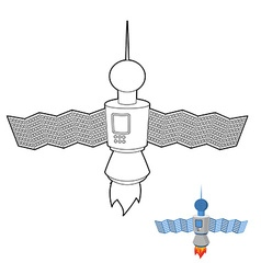 Space satellite coloring book space station vector