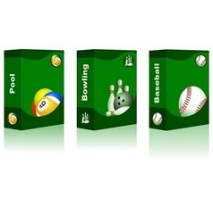 Sport box - Pool Bowling Baseball Ball vector image vector image