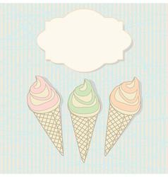 Three icecream cones with a blank label vector image vector image