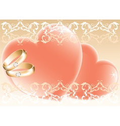 wedding theme with golden rings and hearts vector image vector image