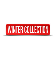 winter collection red 3d square button isolated vector image vector image