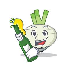 With beer turnip mascot cartoon style vector