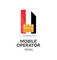 Yemen mobile operator sim card with flag vector