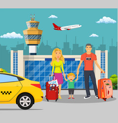 young family with children in front of the airport vector image vector image
