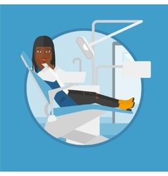 Scared patient sitting dental chair vector