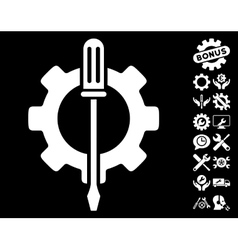 Tuning options gear icon with tools bonus vector