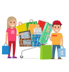 Big shopping day of happy couple cartoon people vector