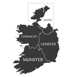 Ireland map labelled black vector