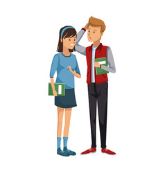 University students with books cartoon style male vector