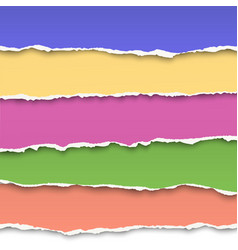 oblong layers of torn color paper vector image