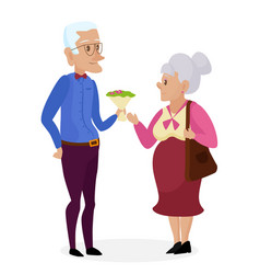 grandpa gives flowers to grandma happy vector image