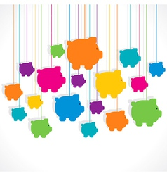 Colorful hang piggy bank background design vector