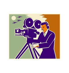 Cameraman film crew vintage video movie camera vector