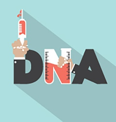 Dna with syringe typography design vector