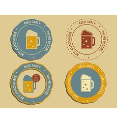 Beer party logo and badge templates with glass of vector image
