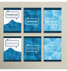 Set abstract paintings on blue background vector