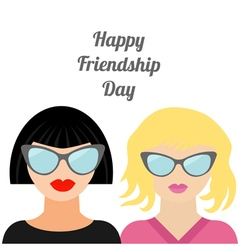 Blond brunet happy friendship day flat vector
