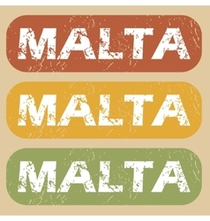 Vintage malta stamp set vector