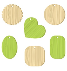 tag with a wooden texture vector image