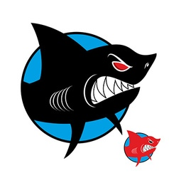 Shark logo angry shark in circle logo for sports vector