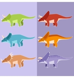 Set of horned dinosaurs vector