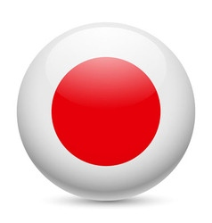 Round glossy icon of japan vector