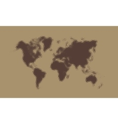 Brown halftone political world map vector
