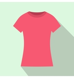 Pink t shirt icon flat style vector