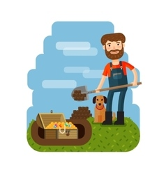 Treasure hunter archaeologist archeologist vector